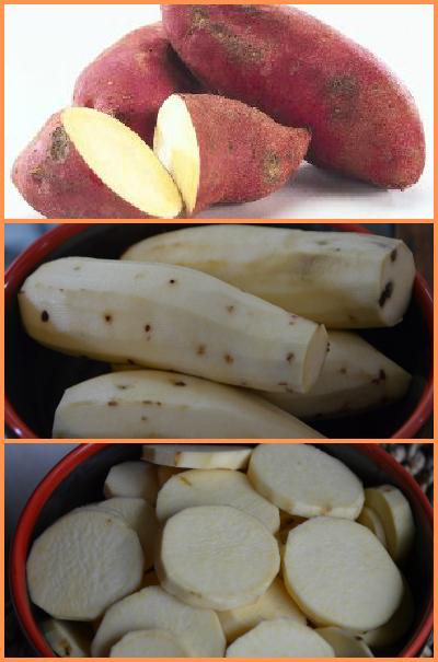 white sweet potato collage